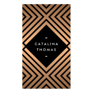Retro Mod Bold Black and Copper Pattern Business Card