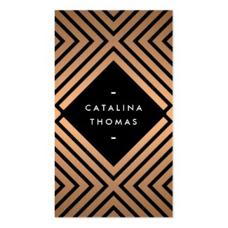 Retro Mod Bold Black and Copper Pattern Double-Sided Standard Business Cards (Pack Of 100)