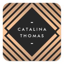 Retro Mod Bold Black and Copper Pattern Stickers