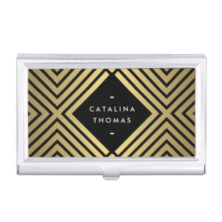 Retro Mod Bold Black and Gold Pattern Card Case