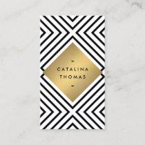 Retro Mod Bold Black and White Pattern Gold Emblem Business Card