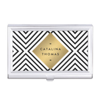 Retro Mod Bold Black and White Pattern Gold Emblem Business Card Holder