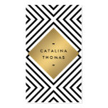 Retro Mod Bold Black and White Pattern Gold Emblem Double-Sided Standard Business Cards (Pack Of 100)