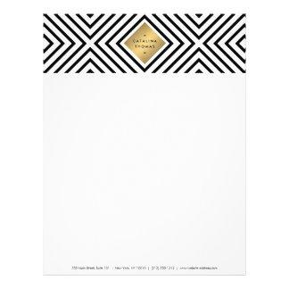 Retro Mod Bold Black and White Pattern Gold Emblem Letterhead