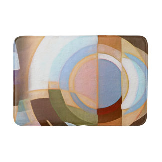Retro Mod Brown and Blue Grapic Circle Pattern Bath Mat