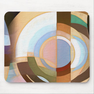 Retro Mod Brown and Blue Grapic Circle Pattern Mouse Pad