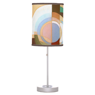 Retro Mod Brown and Blue Grapic Circle Pattern Table Lamp