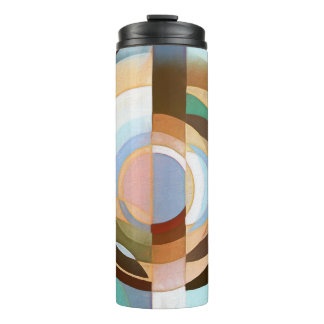 Retro Mod Brown and Blue Grapic Circle Pattern Thermal Tumbler