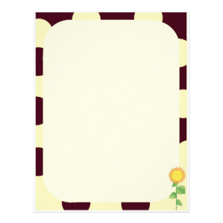 Retro Mod Brown and Yellow Summer Sunflower Letterhead