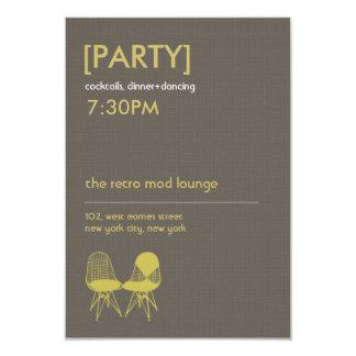 Retro Mod Chair Pair Eames Wedding Reception Card