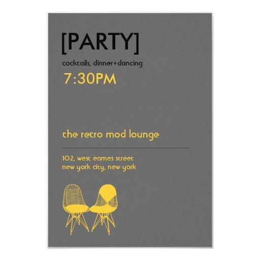 "Retro Mod Chair Pair Eames Wedding Reception 3.5"" X 5"" Invitation Card"