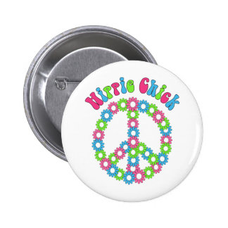 Retro Mod Floral and Peace Symbol Tees Gifts Pinback Buttons