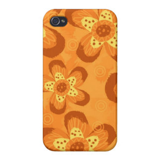 Retro Mod Floral Pattern-Orange Red iPhone 4/4S Case