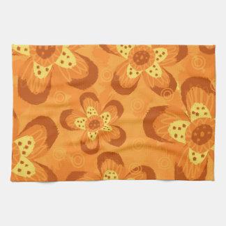 Retro Mod Floral Pattern-Orange Red Towel
