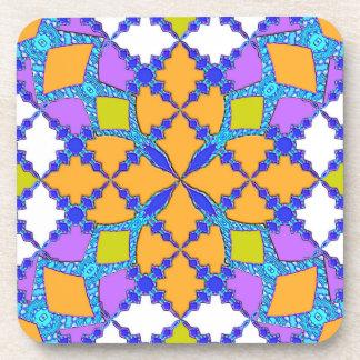 Retro Mod Geometric Orange and Purple Tile Pattern Beverage Coasters