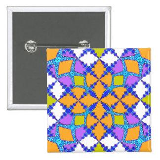 Retro Mod Geometric Orange and Purple Tile Pattern Pinback Button