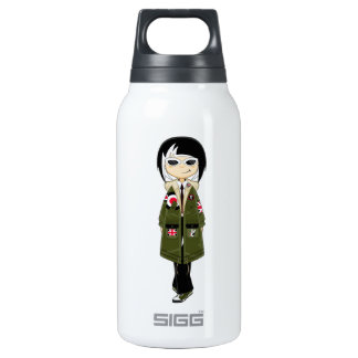 Retro Mod Girl in Shades Insulated Water Bottle