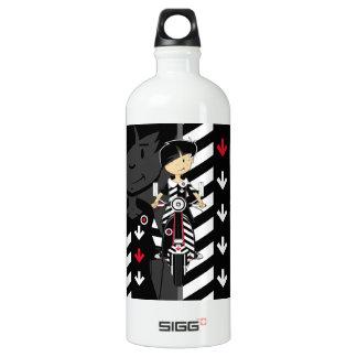 Retro Mod Girl on Scooter Aluminum Water Bottle
