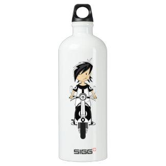 Retro Mod Girl on Scooter Water Bottle