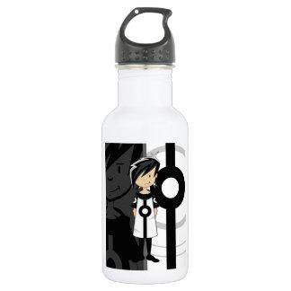 Retro Mod Girl 18oz Water Bottle