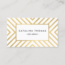 Retro Mod Gold and White Pattern Business Card