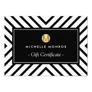 Retro Mod Gold Monogram Gift Certificate 4.5x6.25 Paper Invitation Card
