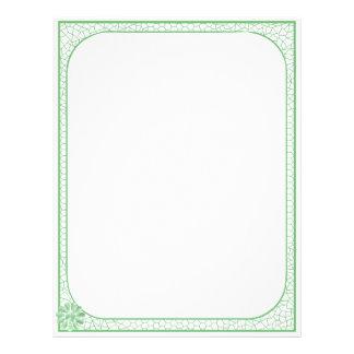 Retro Mod Green and White Daisy Lace Border Letterhead