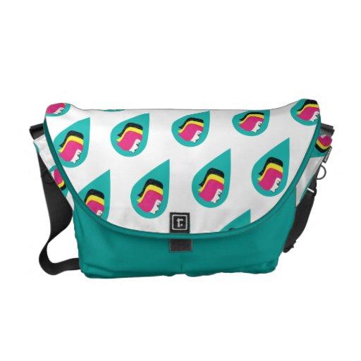 Retro Mod Lady Head Raindrops Peacock Bag Commuter Bag
