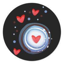 Retro Mod Love Circle Classic Round Sticker