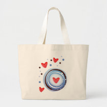 Retro Mod Love Circle Large Tote Bag