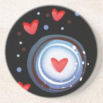 Retro Mod Love Circle Sandstone Coaster