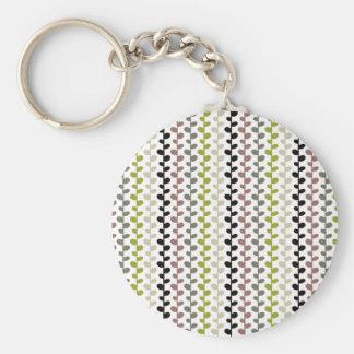 Retro Mod Multicolored Leaf Pattern Keychain