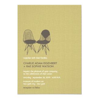 Retro Mod Perfect Chair Pair Eames 2 Wedding Card