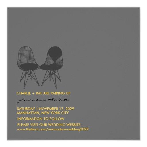 Retro Mod Perfect Chair Pair Eames Save The Date Custom Invitation