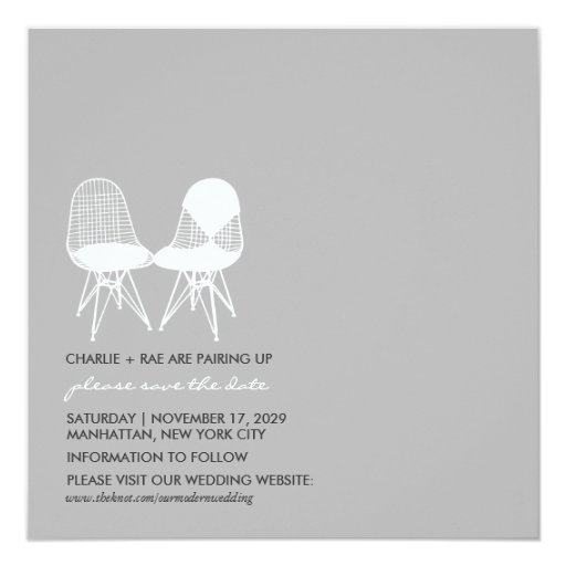 Retro Mod Perfect Chair Pair Eames Save The Date 5.25x5.25 Square Paper Invitation Card