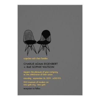 Retro Mod Perfect Chair Pair Eames Wedding Invite Card