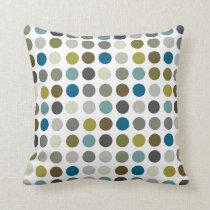 Retro Mod Polka Dot Pattern Throw Pillow