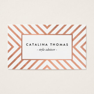 Retro Mod Rose Gold and White Pattern Business Card