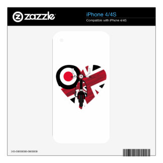 Retro Mod Scooter Heart Decal For iPhone 4