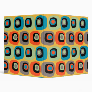 Retro mod square and circles pattern 3 ring binder