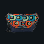 "Retro mod square and circles pattern on dark blue small messenger bag<br><div class=""desc""></div>"