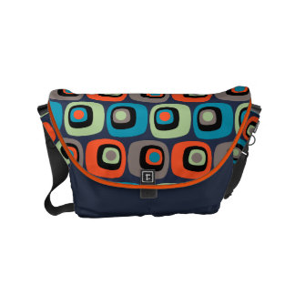 Retro mod square and circles pattern on dark blue small messenger bag