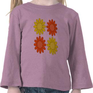 Retro Mod Yellow and Orange Summer Flowers T Shirt