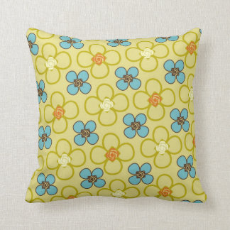 Retro Mod Yellow Floral with Contrasting Dots Throw Pillow