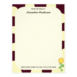 Retro Mod Yellow Summer Sunflower With Name Letterhead