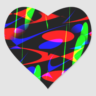 Retro Modern Abstract Heart Stickers
