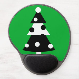 Retro Modern Black and White Christmas Tree Gel Mousepads