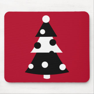 Retro Modern Black and White Christmas Tree Mouse Pads