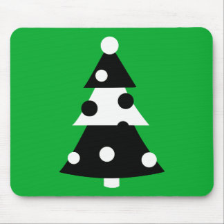 Retro Modern Black and White Christmas Tree Mousepads