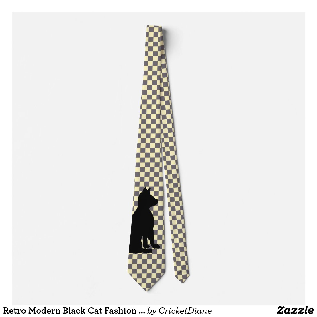Retro Modern Black Cat Fashion CricketDiane Neck Tie